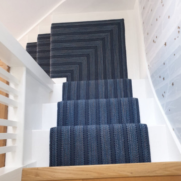 Roger Oates Kasuri Indigo to 3 flights supplied and installed by Bucklands Carpets & Flooring Surrey