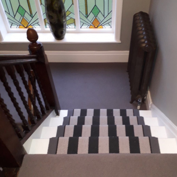 Hove in colour Nightingale to the Landings with Roger Oates Fitzroy Black on the stairs supplied and installed by Arighi Bianchi