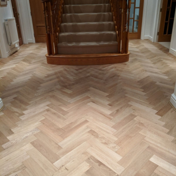 Woodpecker Goodrich Natural Oak Herringbone installed by Solihull Flooring