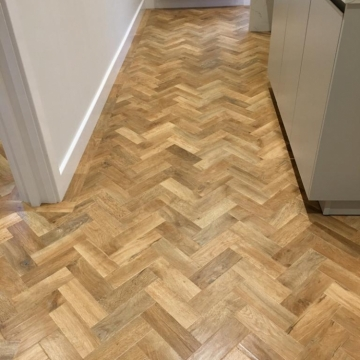 Karndean Blonde Oak Parquet supplied and installed by Arighi Bianchi