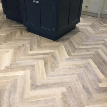 Karndean Knight tile design Herringbone Limed Washed Oak supplied and installed by Arighi Bianchi